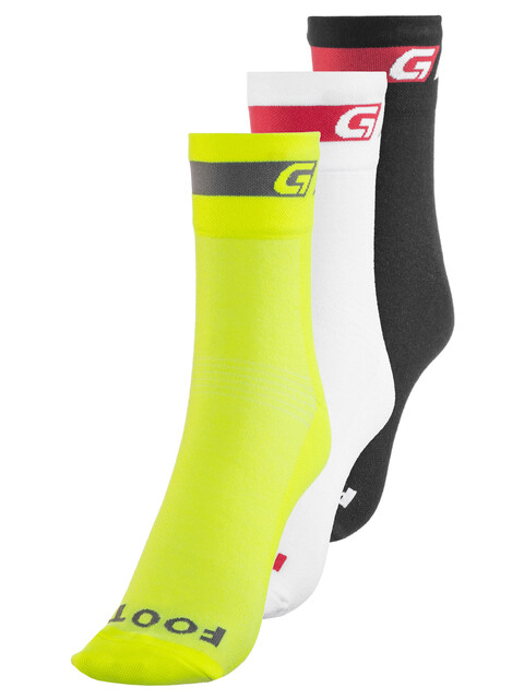 GripGrab Tricolore Regular Cut Cycling Socks 3-Pack Black/White/Fluo Yellow